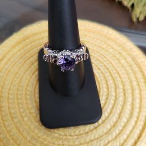 VINTAGE ☆ Silver & Amethyst Ring, 8.5, PRETTY!